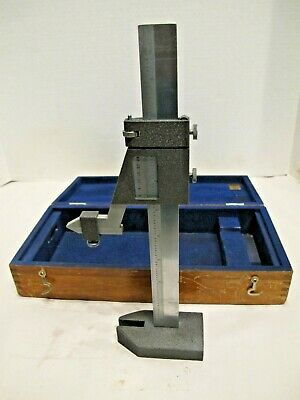 Brown & Sharpe 587 Height Gage With Mahogany Case Vernier Chrome Finish USA