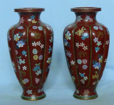Pair Of Antique Japanese Melon Shaped Cloisonne Vases