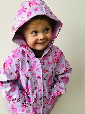 NEW Girls Peppa Pig Coat Pink Raincoat Winter Jacket Fleece Lining Anorak 1-5 yr