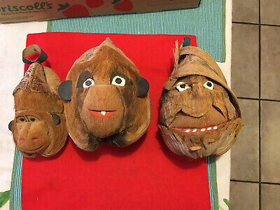 3 Vintage Hand Carved Folk Art Unique Old Rare Awesome Coconut Heads Shell Cool
