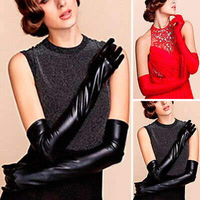 LATEX LONG GLOVES Shine Leather Faux Patent PU 44cm Opera Evening Black Red
