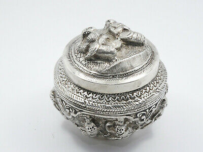 Antique Burmese High Relief Repousse Sterling Silver Box