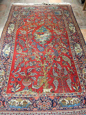 Authentic Fine Excellent Antique Red Wool Hand Knotted RUG