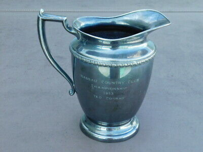 Vintage Antique 1953 Nassau Country Club Silver Plated Pitcher Trophy