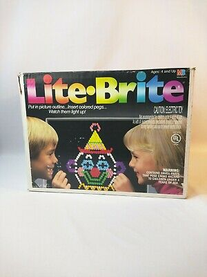 Vintage Light Bright Playset 1990 Board Pegs 8 Sheets 2 Bulbs