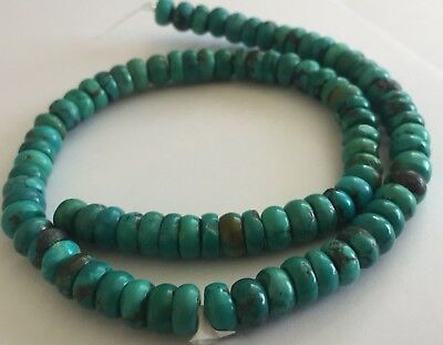 Vintage Turquoise Carved Rondell 16 Inch Strand Chinese Estate Lot #2