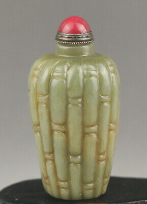 Chinese natural old jade hand-carved snuff bottle 175g