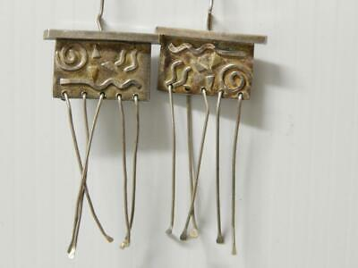 Vintage Mexican Sterling Silver Earrings Mayan Aztec Tribal Dsgn