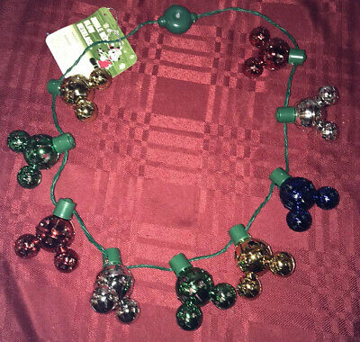 Disney Parks Holiday Jingle Bell Glow Christmas Necklace Light Up Mickey Bells