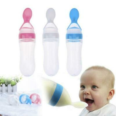 Feeder Squeeze Dispensing Silicone Extrusion Cereal Rice Kids Food Spoon T3