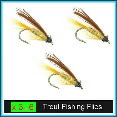 March Brown Wet Trout Flies 12 Pack Mixed 10//12//14 For Fly Fishing