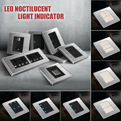 Stainless Brushed LED Indicator Light Switch Wall Switch 1 Way 1 Gang Modern Hot