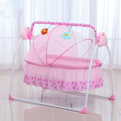 Electric Kids Baby Crib Cradle Infant Rocker Auto-Swing Sleep Bed Cots w/ Mat AU