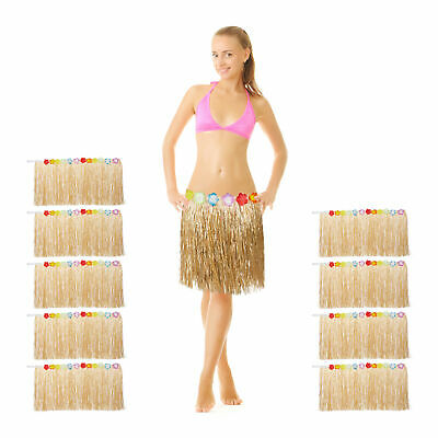 10 x Hawaiian Grass Hula Skirt, Caribbean Costume Accessory for Beach Parties