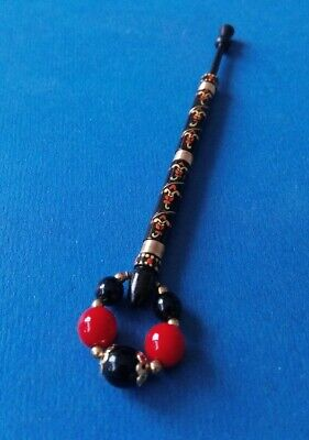 Ebony Laquered Lace Bobbin. Wired & Pretty Pattern Red & Gold Colour. Spangles.