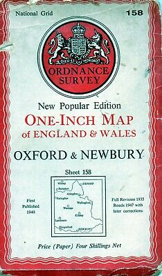Old Vintage 1947 OS Ordnance Survey One-Inch Map 158 - Oxford & Newbury