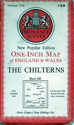 Old Vintage 1947 OS Ordnance Survey One-Inch Map 159 - The Chilterns