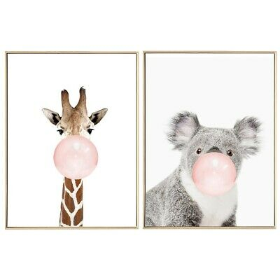 2 Pcs Kawaii Animal Nordic Canvas Painting Art Print Poster Wall Picture Ro R7G3