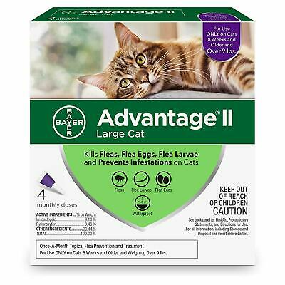 Bayer Advantage II Flea Treatment for Large Cats Over 9 lbs 4 dose FREE SHIP