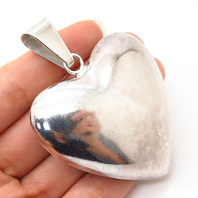 925 Sterling Silver Vintage Mexico Large Hollow Puffy Heart Pendant
