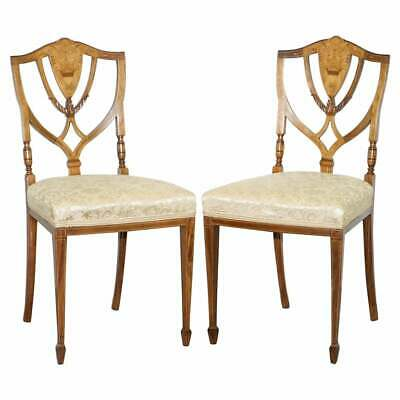 Stunning Pair Of Rosewood Sheraton Revival Style Occasional Chairs Part Suite