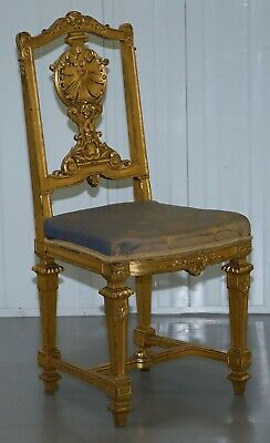 Stunning Early Victorian Gold Gilt Wood Chair With Ornately Carved Crested Back