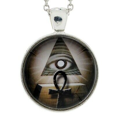Egyptian Ankh & Pyramid Pendant All Seeing Eye Occult Amulet Necklace