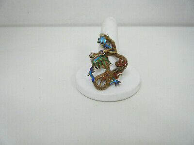 Antique Chinese Sold Tone Sterling Silver Dragon