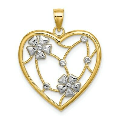 14K Y /& Rose W//White Rhodium Polished Flowers /& Leaves Pendant