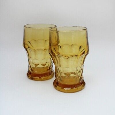 Vintage Barware | 60s | Georgian Amber Anchor Hocking Tumblers Set of 2