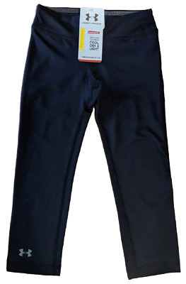 Under Armour Girls Fitted HeatGear Activewear Pants, Navy Blue, Youth Large, NWT