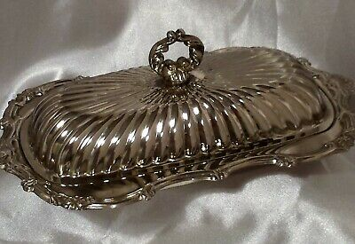 LEONARD SILVERPLATE BUTTER DISH w/LID and GLASS LINER ORNATE DESIGN