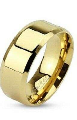 Couples Stainless Steel Glossy Gold IP Beveled Flat Wedding Band Ring - Size 10