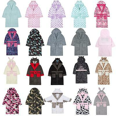 Girls/Boys Fleece Robe Kids/Childrens Dressing Gown Age 2-13 NEW