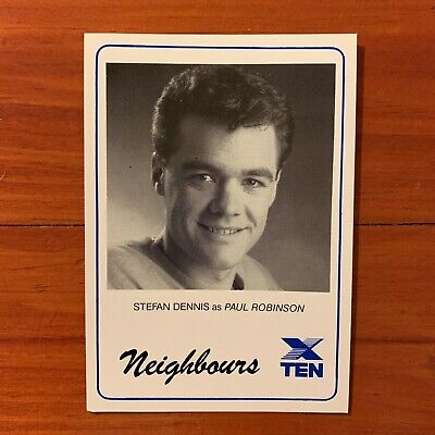 Neighbours vintage TV Fan Card 1980s Stefan Dennis Paul Robinson1989 soap