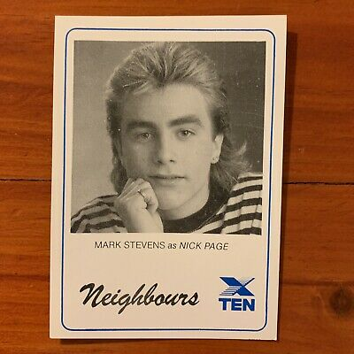 Neighbours vintage TV Fan Card 1980s Mark Stevens Nick Page1988 80s Kylie