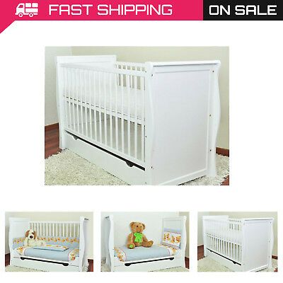 "Baby Cot With Drawer/Junior Bed ""Sara Ii"" + Selection Of Mattress/Drawer"