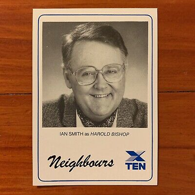Neighbours vintage TV Fan Card 1980s Ian Smith  Harold Bishop1989 soap Kylie