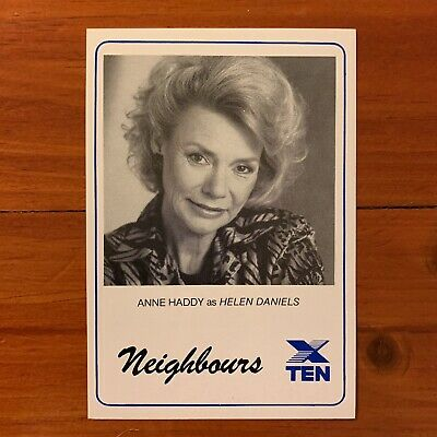 Neighbours vintage TV Fan Card 1980s Anne Haddy Helen Daniels1989 soap Kylie