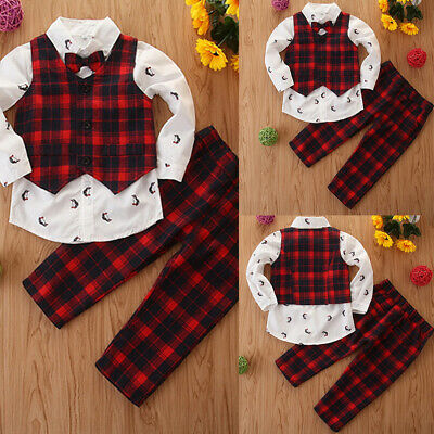 3pc Toddler Baby Boy Kid Christmas Plaid Vest Shirt+Pants Gentleman Suit Outfit