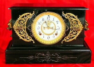 "Antique Ansonia ""Padua"" Enameled Iron Mantle Clock Circa 1894"