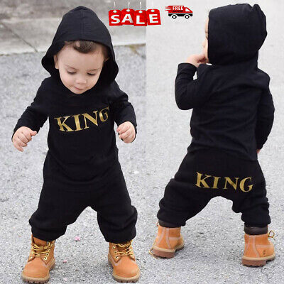 "Newborn Baby Kids Boy ""KING"" Hooded Romper Bodysuit Jumpsuit Clothes Outfits Set"