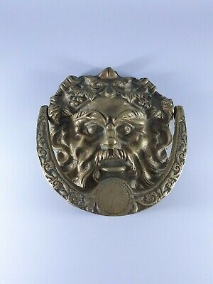 Vintage and High Quality Brass Green Man Door Knocker. Very Decorative.