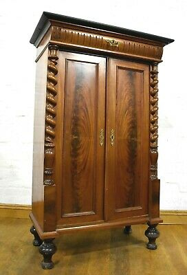 Antique flame mahogany side cabinet - bookcase - linen cabinet