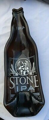 Stone IPA beer large bottle slumped melted dish spoon rest man cave ashtray