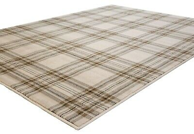 Small - Extra Large Light Beige Tartan Patterned Rug, Clearance Ltd Stock