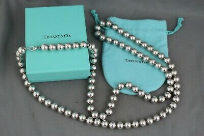 """Tiffany & Co. Sterling Silver Large 10mm Ball Bead Beaded Chain 36"""" Necklace *"""