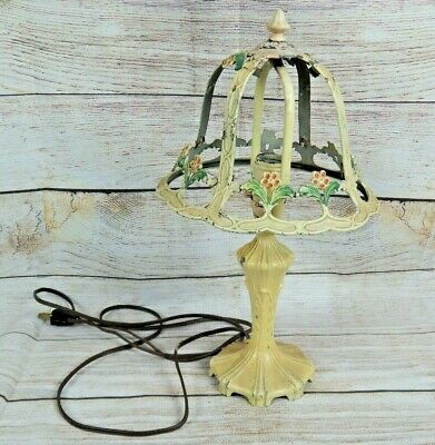 Shabby Chic Vintage Cast Metal Accent Lamp and Lampshade Frame Flowers