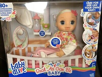 Baby Alive Real As Can Be Blonde Doll 80+ Lifelike Expressions & Sounds Talk Cry