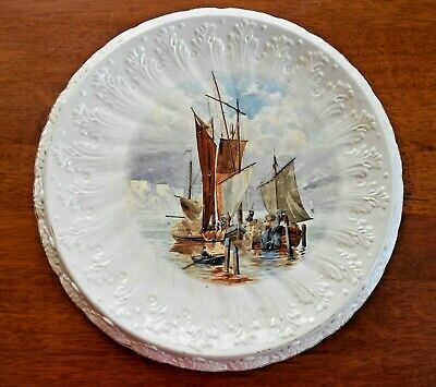 Antique Edwardian Bread Plate with Embossed Decoration and Boat Scene Transfer